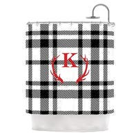 KESS InHouse KESS Original White Plaid Monogram Shower Curtain (69x70)