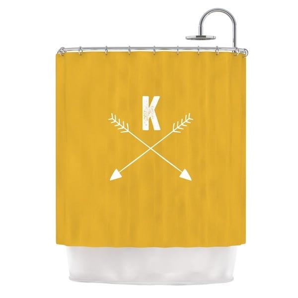 KESS InHouse KESS Original Golden Arrow Monogram Shower Curtain (69x70)
