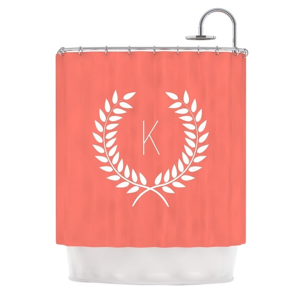 Shop KESS InHouse KESS Original Coral Wreath Monogram Shower Curtain