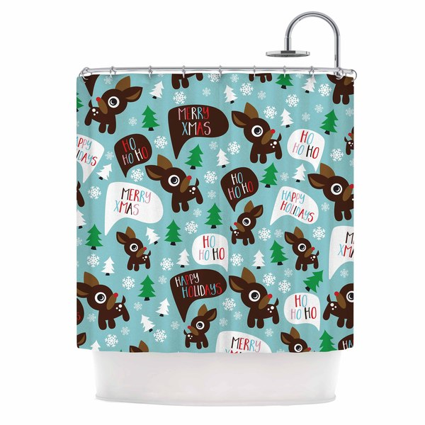 KESS InHouse Original Cheerful Reindeer Blue Brown Shower Curtain 69x70
