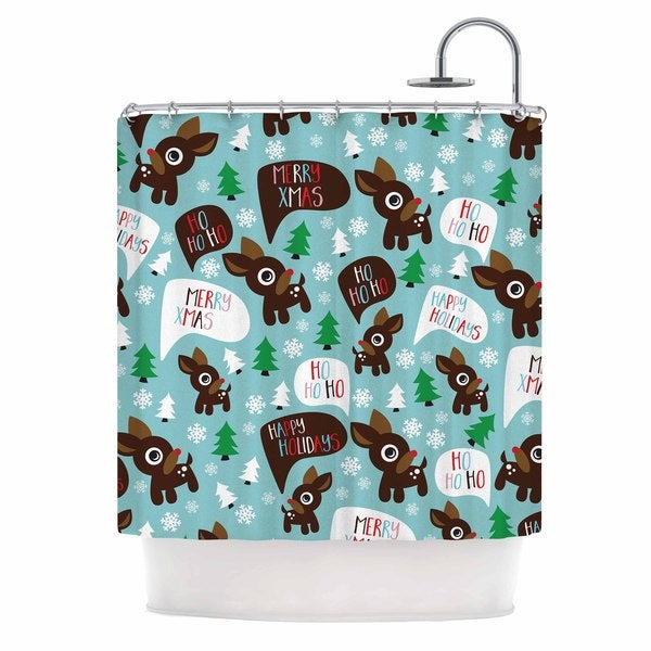 KESS InHouse KESS Original Cheerful Reindeer Blue Brown Shower Curtain (69x70)