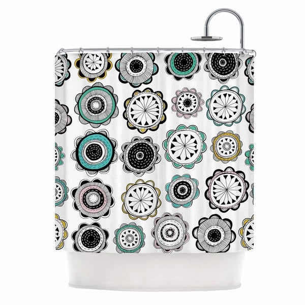 KESS InHouse Jessica Wilde Carnival Teal Black Shower Curtain (69x70)
