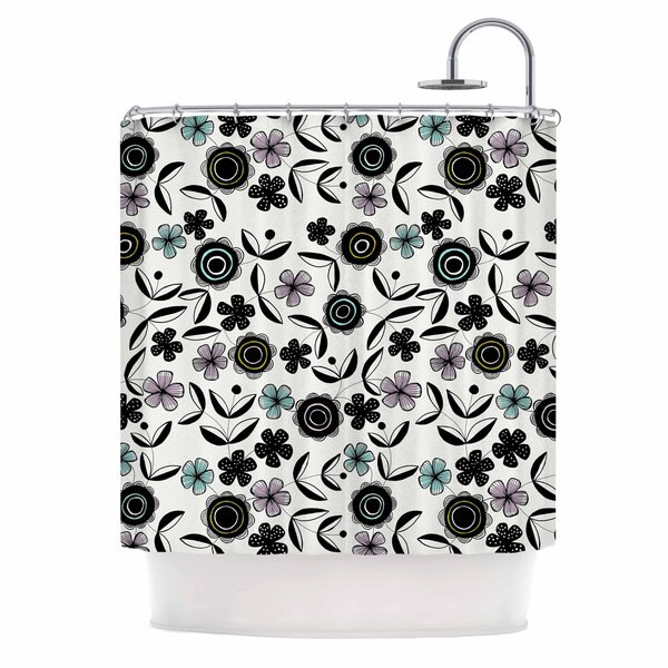 KESS InHouse Jessica Wilde Artisan Floral Black White Shower Curtain (69x70)