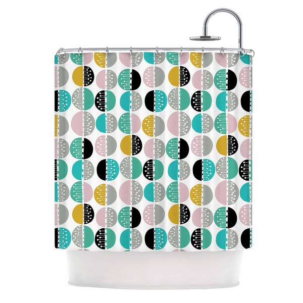 KESS InHouse Jessica Wilde Carnival Stripe  Teal Gold Shower Curtain (69x70)
