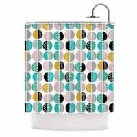 "KESS InHouse Jessica Wilde ""Carnival Stripe "" Teal Gold Shower Curtain (69x70) - 69 x 70"