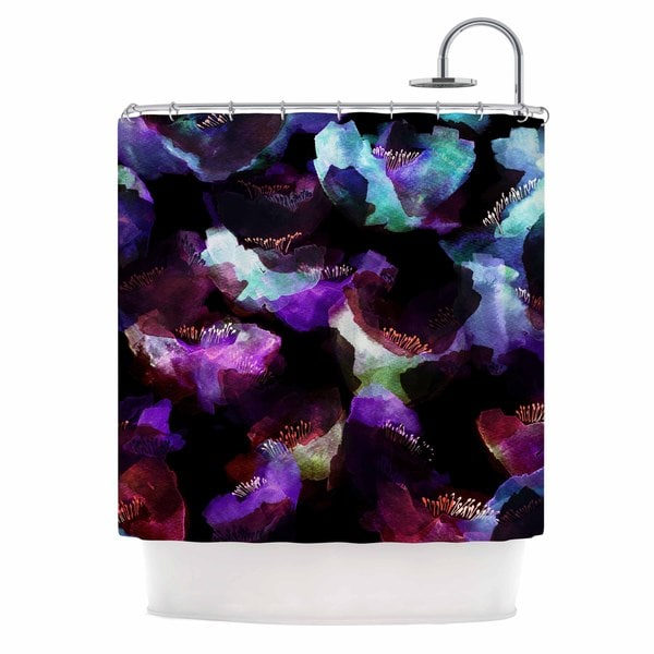 KESS InHouse Jessica Wilde Watercolour Poppy Multicolor Abstract Shower Curtain (69x70)