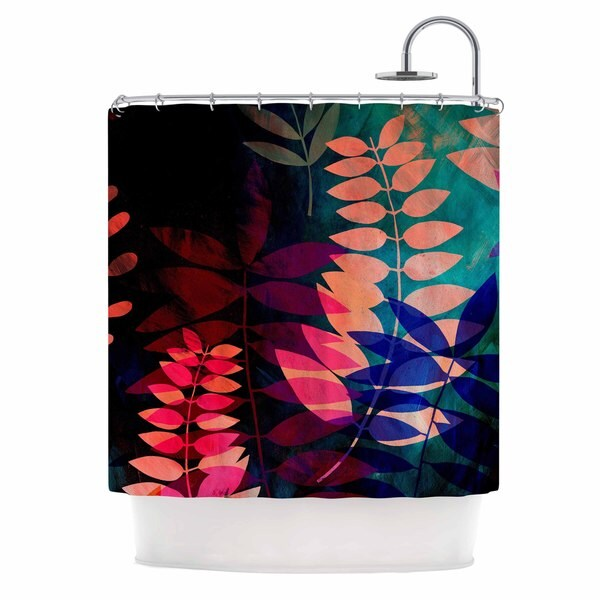 "KESS InHouse Jessica Wilde ""Dark Jungle"" Multicolor Nature Shower Curtain (69x70) - 69 x 70"