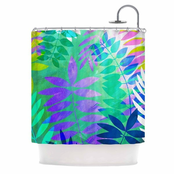 KESS InHouse Jessica Wilde Jungle Teal Purple Shower Curtain 69x70
