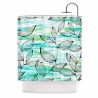 "KESS InHouse Jessica Wilde ""Tropical Leaf Garden"" Green Nature Shower Curtain (69x70) - Multi/Green/Blue"