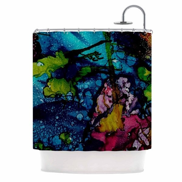 KESS InHouse Abstract Anarchy Design Sharks Cove Teal Balck Shower Curtain (69x70)