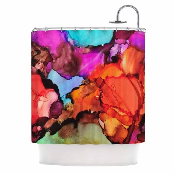 KESS InHouse Abstract Anarchy Design Caldera #3 Pink Teal Shower Curtain (69x70)