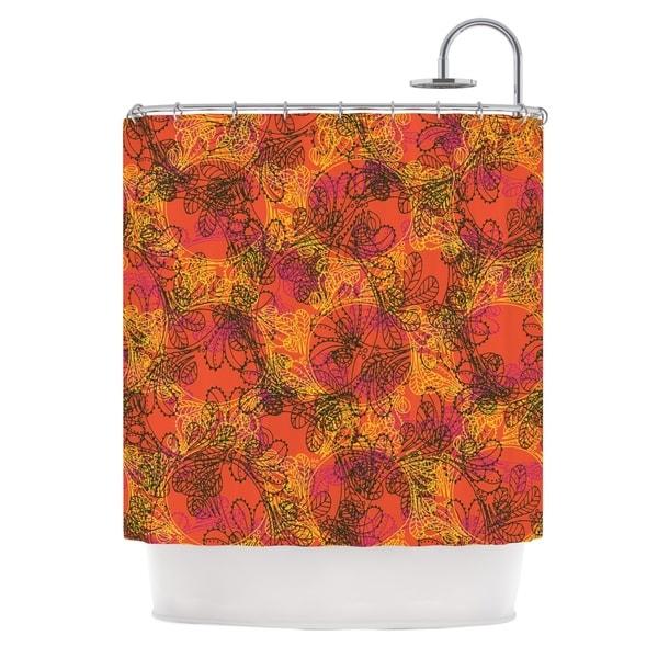 KESS InHouse Patternmuse Jaipur Orange Red Orange Shower Curtain (69x70)