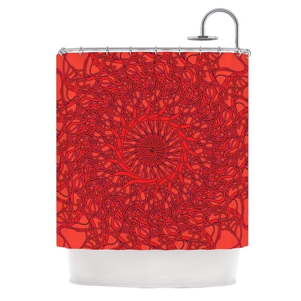 KESS InHouse Patternmuse Mandala Spin Romance Red Geometric Shower Curtain (69x70)