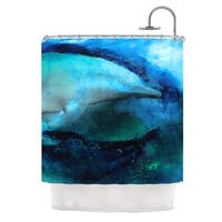 KESS InHouse Josh Serafin Dolphin Blue Teal Shower Curtain (69x70)