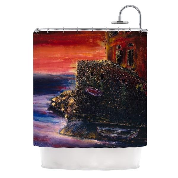 KESS InHouse Josh Serafin Seaside Village Brown Red Shower Curtain (69x70)