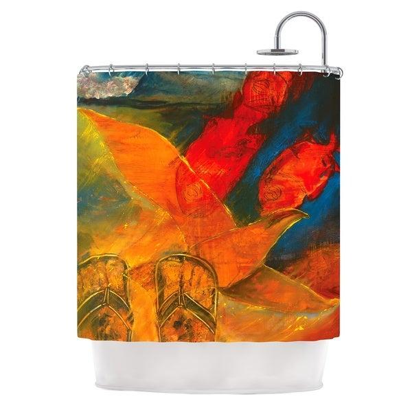 KESS InHouse Josh Serafin What's Beneath My Feet Fish Seagull Shower Curtain (69x70)