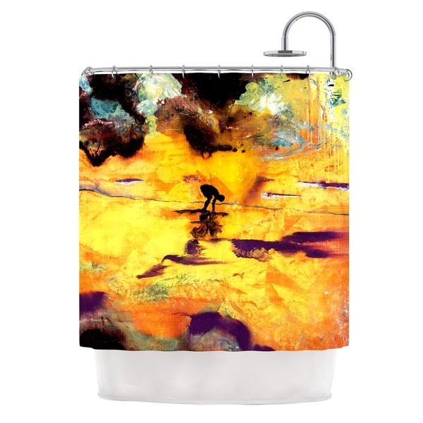 KESS InHouse Josh Serafin Pool of Life Yellow Abstract Shower Curtain (69x70)