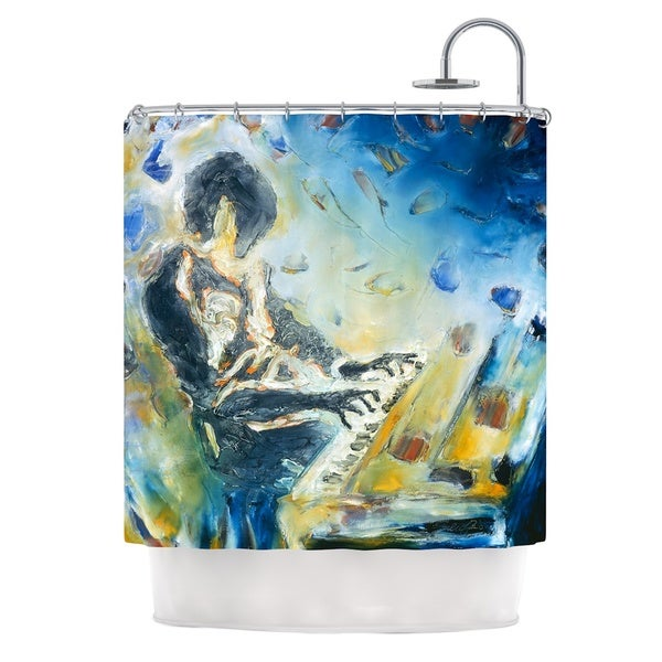 KESS InHouse Josh Serafin Riders on the Storm Piano Player Shower Curtain (69x70)