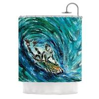 KESS InHouse Josh Serafin Sponge Blue Teal Shower Curtain (69x70)