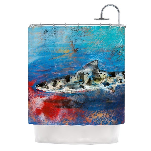 KESS InHouse Josh Serafin Sea Leopard Blue Shark Shower Curtain (69x70)