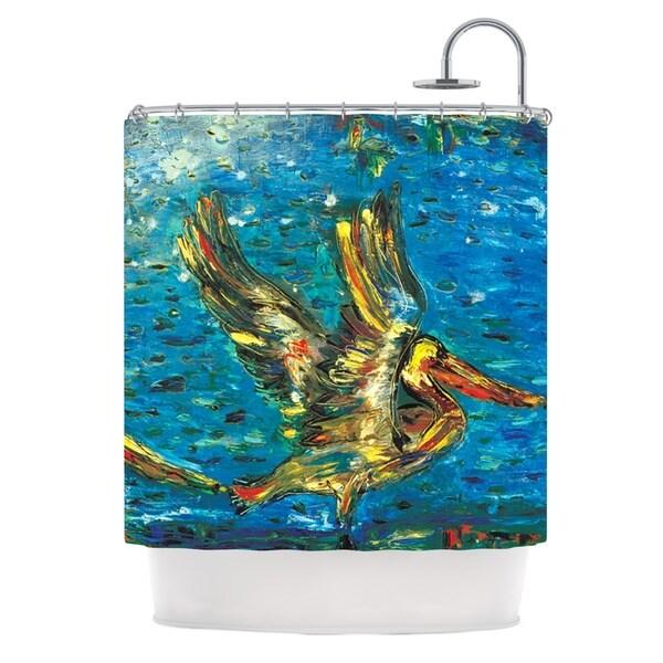 KESS InHouse Josh Serafin Seabirds Blue Yellow Shower Curtain (69x70)