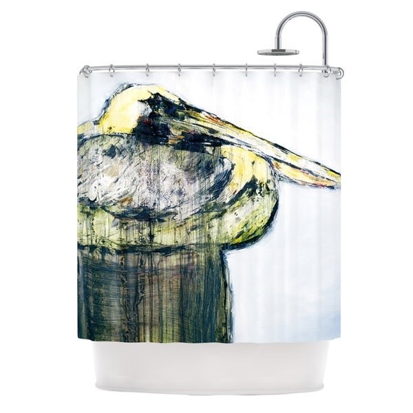 KESS InHouse Josh Serafin Oldtimer White Bird Shower Curtain (69x70)