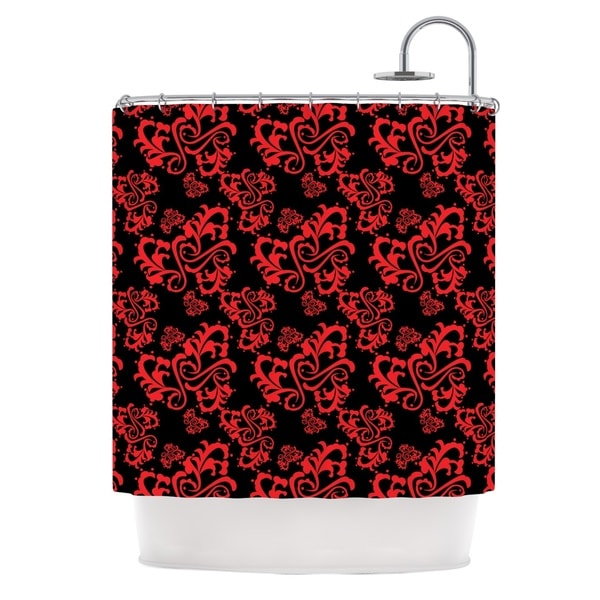 "KESS InHouse Mydeas ""Sweetheart Damask Black & Red"" Pattern Shower Curtain (69x70) - 69 x 70"