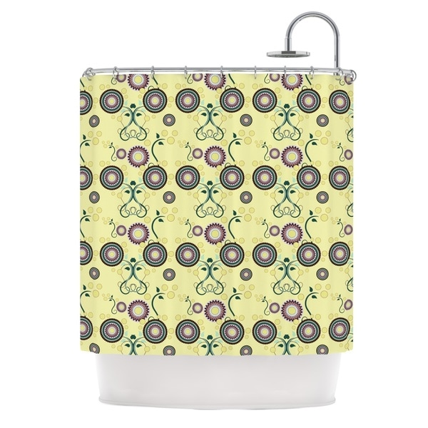 KESS InHouse Mydeas Spring Florals Yellow Multicolor Shower Curtain (69x70)