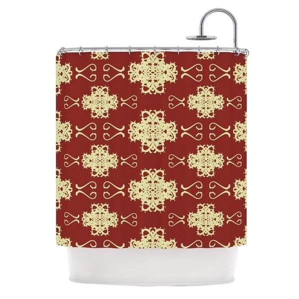 KESS InHouse Mydeas Asian Motif Damask Red Pattern Shower Curtain (69x70)