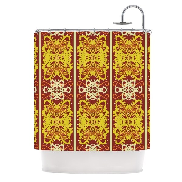 KESS InHouse Mydeas Butterfly Dog Damask Yellow Red Shower Curtain (69x70)