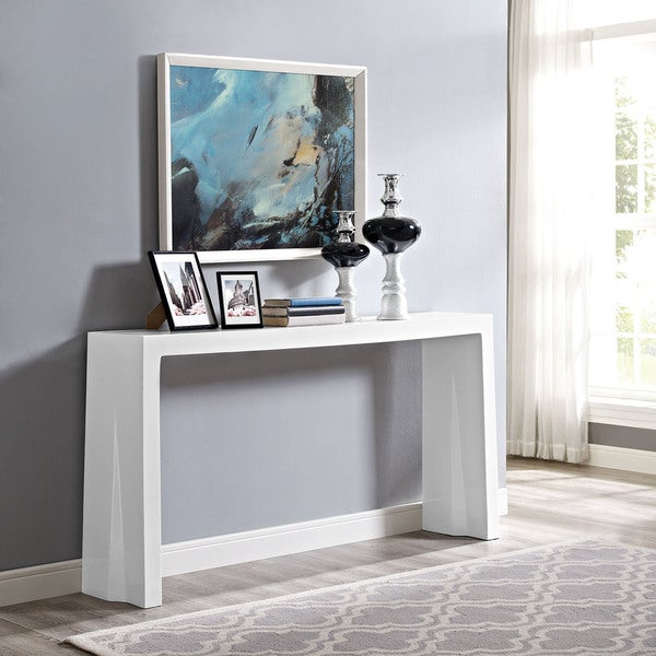 Shop Modway White Wash Mdf Glass Console Table Free