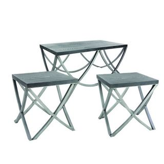 Benzara Grey Wood and Metal Console Table (Set of 3)