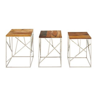 Benzara Urbana Wood and Iron Nest Tables (Set of 3)