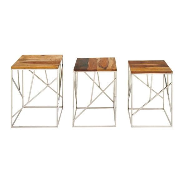 Benzara Urbana Wood and Iron Nest Tables (Set of 3)