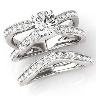 Transcendent Brilliance Curved Floating Diamond Split Shank Bridal Wedding Set 18k Gold 2 1/4 TDW
