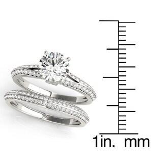 Transcendent Brilliance Wrapped Romance Split Shank Diamond Bridal Wedding Set 18k Gold 1 1/4 TDW