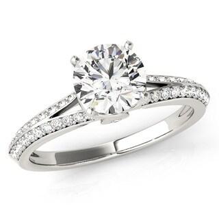 Transcendent Brilliance Romance Diamond Wrapped Split Shank Engagement Ring 18k Gold 1 1/10TDW