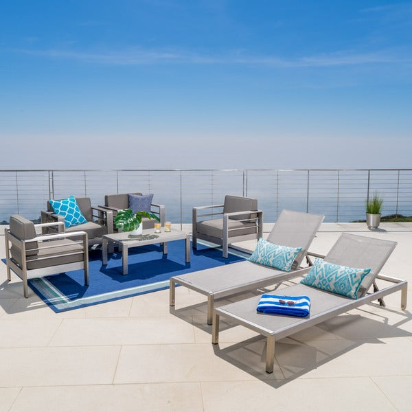 Cape C Outdoor 7 Piece Seating Set With Cushions By Christopher Knight Home