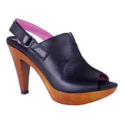 Women's Helle Comfort Navit Heeled Slingback Black Leather