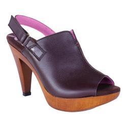 Women's Helle Comfort Navit Heeled Slingback Brown Leather