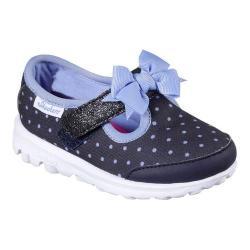 Girls' Skechers GOwalk Dotty Dazzle T-Strap Sneaker Navy/Blue
