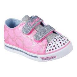 Girls' Skechers Twinkle Toes Shuffles Glitter Heart Sneaker Pink/Light Blue