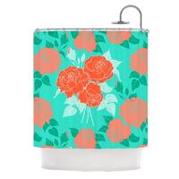 KESS InHouse Anneline Sophia Summer Rose Orange Teal Green Shower Curtain (69x70)