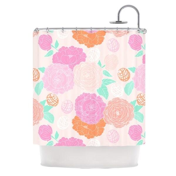 KESS InHouse Anneline Sophia Peonies Pink Peach Teal Shower Curtain (69x70)