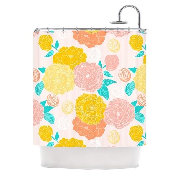 KESS InHouse Anneline Sophia Peonies Peach Yellow Pink Shower Curtain (69x70)