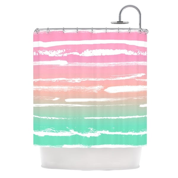 KESS InHouse Anneline Sophia Painted Stripes Pink Green Pink Shower Curtain (69x70)