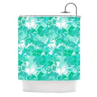KESS InHouse Anneline Sophia Marbleized In Seafoam Teal Aqua Shower Curtain (69x70)