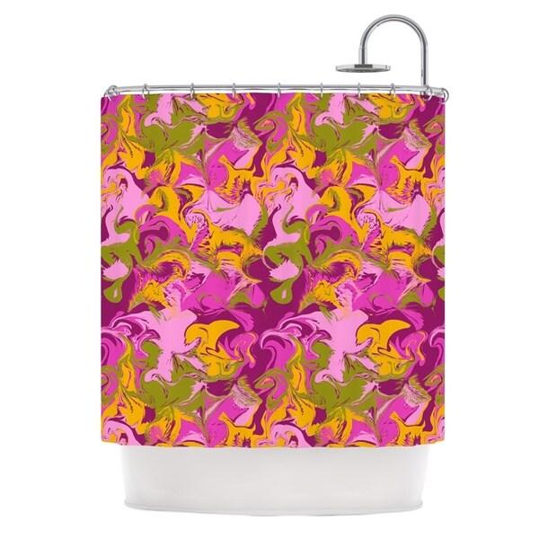 KESS InHouse Anneline Sophia Marbleized In Plum Pink Purple Shower Curtain (69x70)