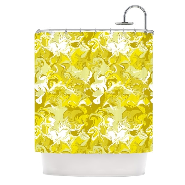 KESS InHouse Anneline Sophia Marbleized In Gold Yellow Shower Curtain (69x70)