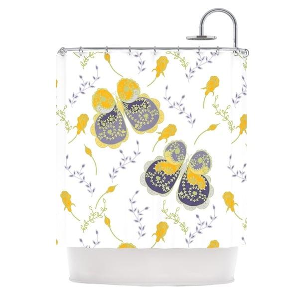 KESS InHouse Anneline Sophia Leafy Butterflies Yellow Purple Butterfly Shower Curtain (69x70)